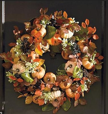 Harvest Pumpkin Wreath Thanksgiving Autumn Fall Decor Harvest Door Holiday!!