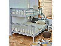 CASH ON COLLECTION- TRIO WOODEN BUNK BED FRAME DOUBLE BOTTOM & SINGLE TOP HIGH QUALITY