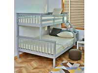 New Supreme Quality - TRIO WOODEN BUNK BED FRAME DOUBLE BOTTOM & SINGLE TOP HIGH QUALITY