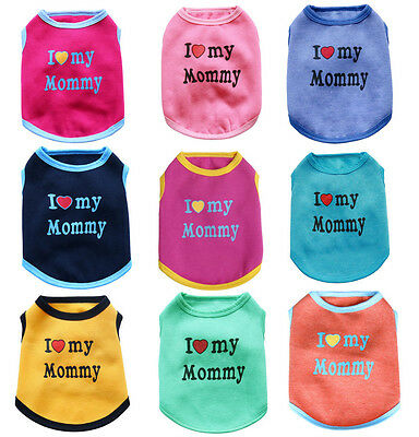 (Plush Soft Love Mommy Pet Cat Shirt Dog Clothes Coat Pig Apparel Vest T shirt)