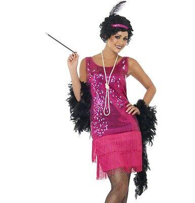 Damen 20er Spass Flapper Dame Kostüm Pink Outfit von Smiffys Neu ()