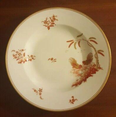 "Richard Ginori Siena Rust Chicken Rooster Gold Accent Soup Rim Pasta Bowl 9-3/4"""