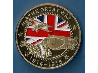 1 Oz GOLD PLATED COMMEMORATIVE COIN *** THE GREAT WAR ( 1914 - 1918 ) *** IN A CAPSULE