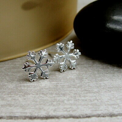 Snowflake Post Earrings - 925 Sterling Silver - Winter Christmas Studs -