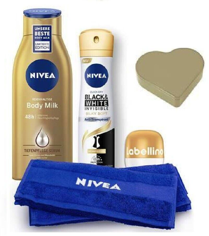 NIVEA HEART IN GOLD 5-Piece Lotions, Deodrant,Towel TIN GIFT