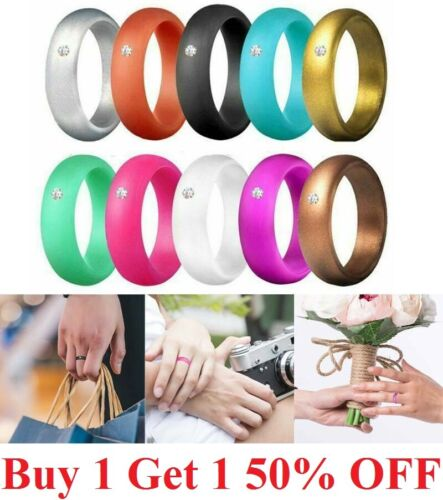 Women Diamond Silicone Wedding Engagement Ring Rubber Band Gym Sport 5mm Wide