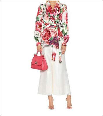 2.2k NWT Dolce & Gabbana Pajama Top Silk Wrap Front Blouse Rose Peony Jacket  46