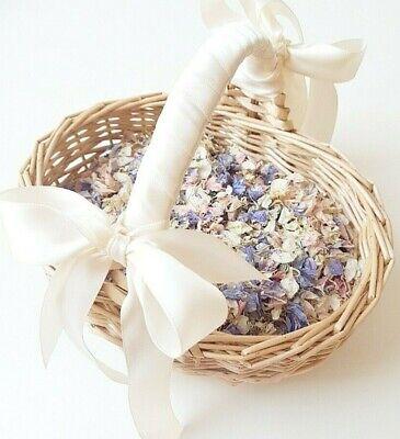 Flower girl basket with Flower petal confetti and ribbon - Children basket - Flower Girl Petal Basket