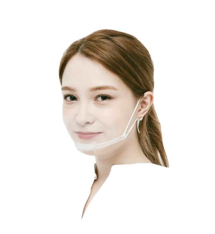 2 Clear Masks Face Shields Reusable Transparent Anti-Fog Face Masks
