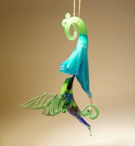 Blown Glass Hummingbird & Flower Figurine - Hanging Art Glass Bird Blue & Green