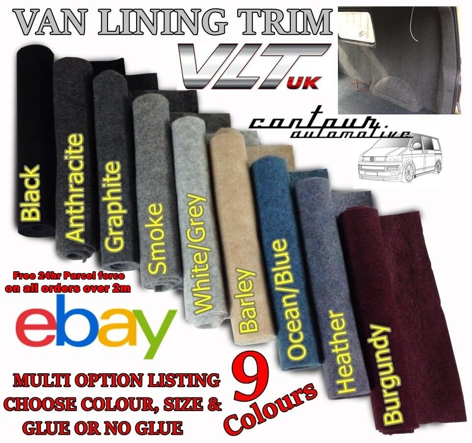 Car Parts - VAN CAR CAMPER BOAT MOTORHOME CARPET TRIM LINING STRETCH BLACK GREY ACOUSTIC