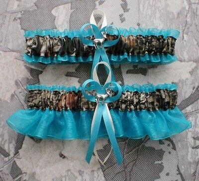 Mossy Oak Turquoise Wedding Garter Set  Camo Deer Charm Hunting Hunter - Camo Garter Set