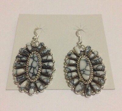 Native American Navajo Handmade White Cluster Sterling Silver Hook Earrings