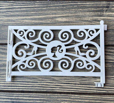 """2012 Barbie Dream House Replacement Part Piece White Swirl Fence 6.5"""""""