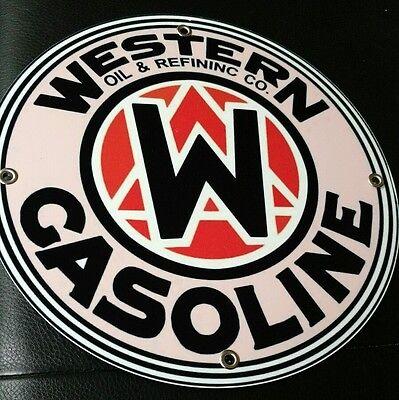 Western Gas Oil Gasoline Sign     Round  12