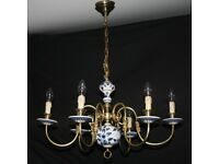 VINTAGE FLEMISH CHANDELIER BLUE & WHITE 5 ARM CEILING LIGHT Ref: GJL21