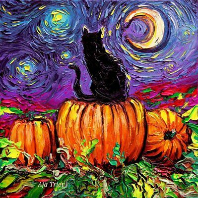 Halloween Decoration Black Cat Starry Night Wall Art Print Autumn Fall Decor - Aja Halloween
