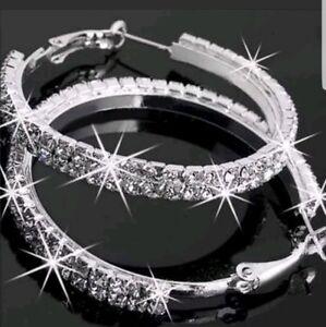 Large Bling Hoop Earrings Diamante Bridal Round Rhinestone Silver 2 Rows Crystal