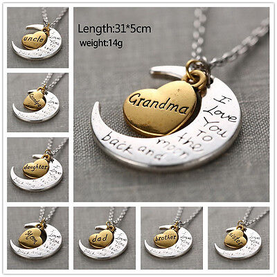Family  I Love You To The Moon And Back  Necklace Pendant For Mom Dad Grandma