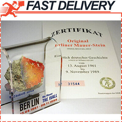 Original Piece of the REAL BERLIN WALL Mounted in Acrylic Display with Certifica