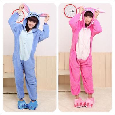 Blau Pink Stich Onesiee Kigurumi Kostüm Kapuzenpullover Schlafanzug Body ()