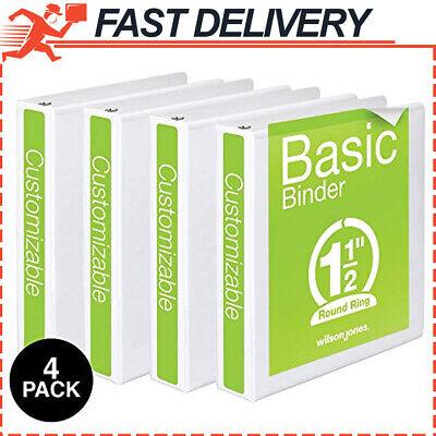 1-12 Inch 3 Ring Binder Basic Round View Black 4 Pack