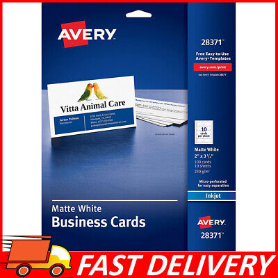 "2""x3.5"" Avery Ink-Jet Printer White Business Cards, 216 GSM, Matte Finish 100ct"