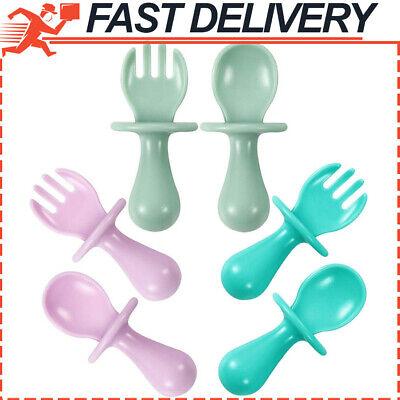 6-Pack First Training Self Feeding Baby Utensils Set Spoon & Fork Anti-Choke