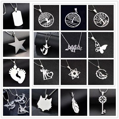 Fashion Charm Silver 316L Stainless Steel Titanium Pendant Necklace NEW ()