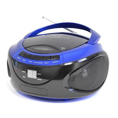 Lloytron N8203 Portable Stereo CD Player With AM/FM Radio LED Display Blue - New