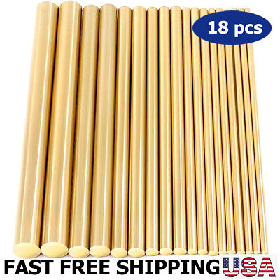 Assorted Brass Solid Round Rod Lathe Bar Stock Kit, 18 pcs, 2mm-8mm Length 100mm