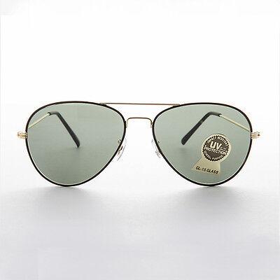 Vintage Aviator Sonnenbrille mit Glas Linse und Schwarz Goldrahmen 58mm - Gans