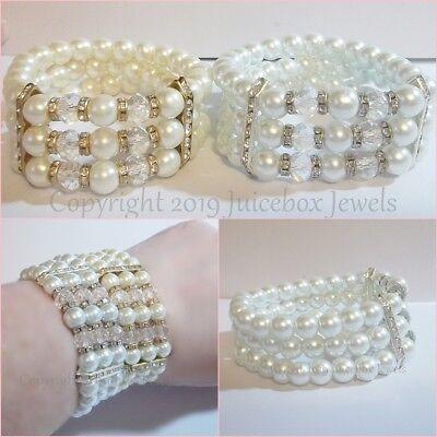 3 Strand Glass Faux Pearl Stretch Bracelet White/Cream Silver/Gold Tone Bridal Bridal White Faux Pearl