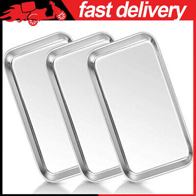 3 Pcs Medical Tray Stainless Steel Dental Lab Instruments Surgical Metal Trays