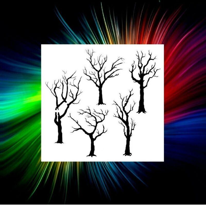 TREES AIRBRUSH, PAINT BRUSH TEMPLATE ART STENCIL