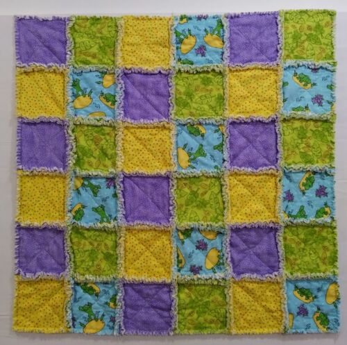 Baby Frogs on Lily Pads Flannel Baby Rag Quilt Hand made Purple Green Aqua Yello