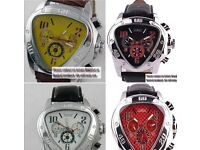 Automatic Jaragar Triangular Watch In Various Colours With Leather Strap