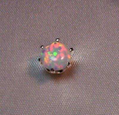 1/3 CT PLUS FIERY ROUND OPAL MENS SILVER TIE TACK PIN LAB GROWN NR