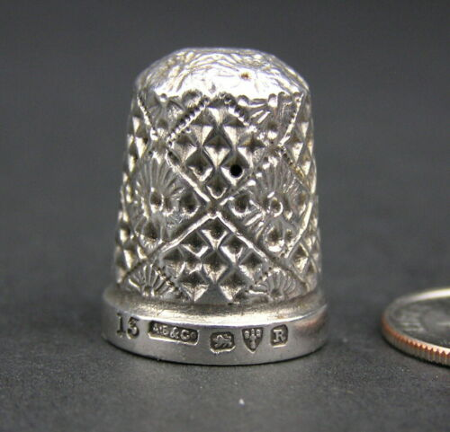 Antique Solid Sterling Silver English Thimble Hallmarked Chester England #15