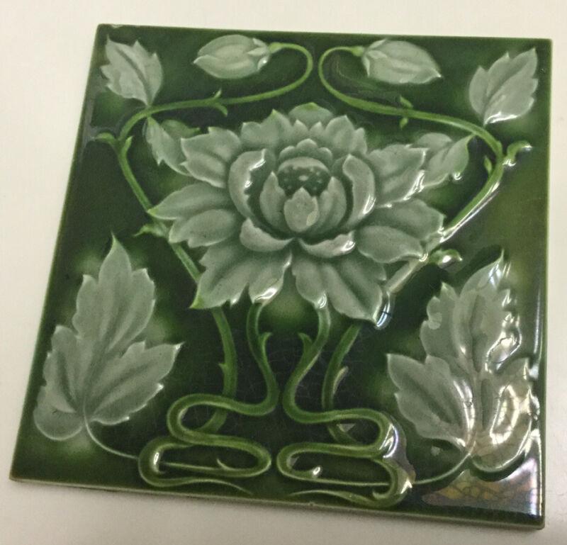 Antique Art Nouveau Majolica Tile England A. M. Ltd
