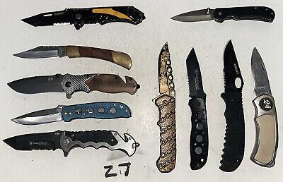 Lot Of 10 TSA Confiscated EDC Single Blade Pocket Knives Nice!!!