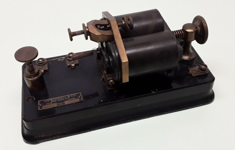 """J.H. Bunnell """"Spectacle"""" Telegraph Relay 150 Ohms Type 2.2 Bakelite/C. Iron Base"""