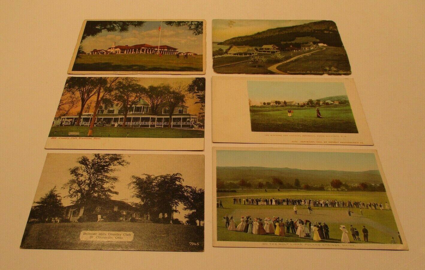 6 early 1900's golf postcards-unused-maine,new hampshire,north carolina,mass,oh