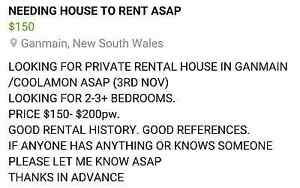 Looking For House to Rent ASAP Ganmain Coolamon Area Preview