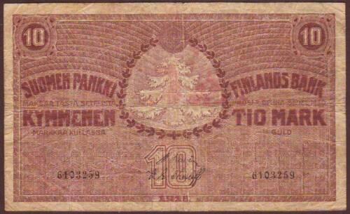 FINLAND  10 Markkaa  1918