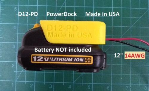 Power Dock for DeWalt 12V Battery holder Mount wired 14AWG DIY USA D12-14