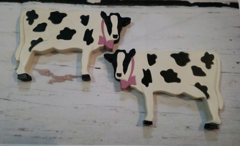 Holstein Cow Plaques Set 2 Wall Hanging Made in USA Vintage Black White Farmhous