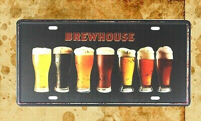 good places to outdoor home decor Brewhouse beer tin sign car plate