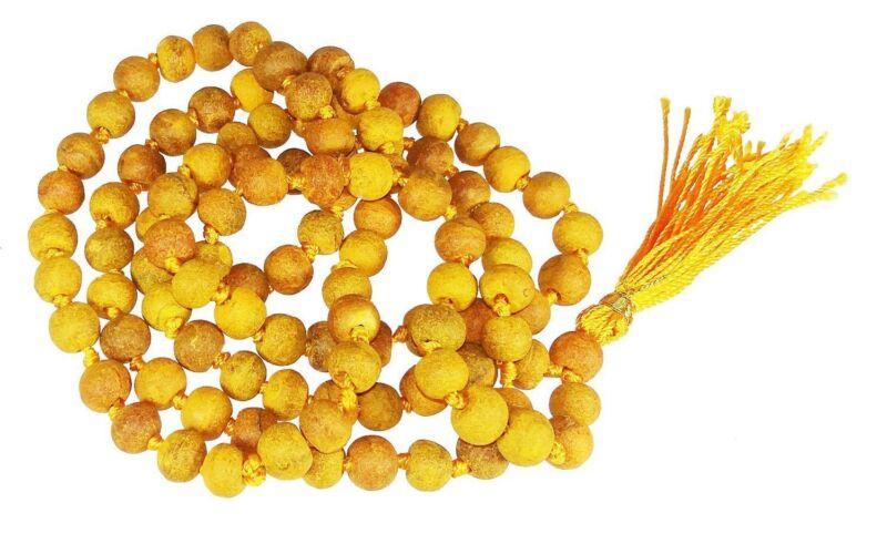 Haldi / Turmeric Mala 100% Natural & Original 108+1 beads for Prayer Japa Rosary