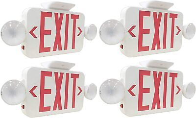 Lit-path Led 4-pack Combo Emergency Exit Sign With 2 Adjustable Lights